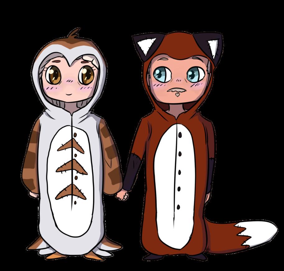 Owls clipart couple. Fox and owl kigu