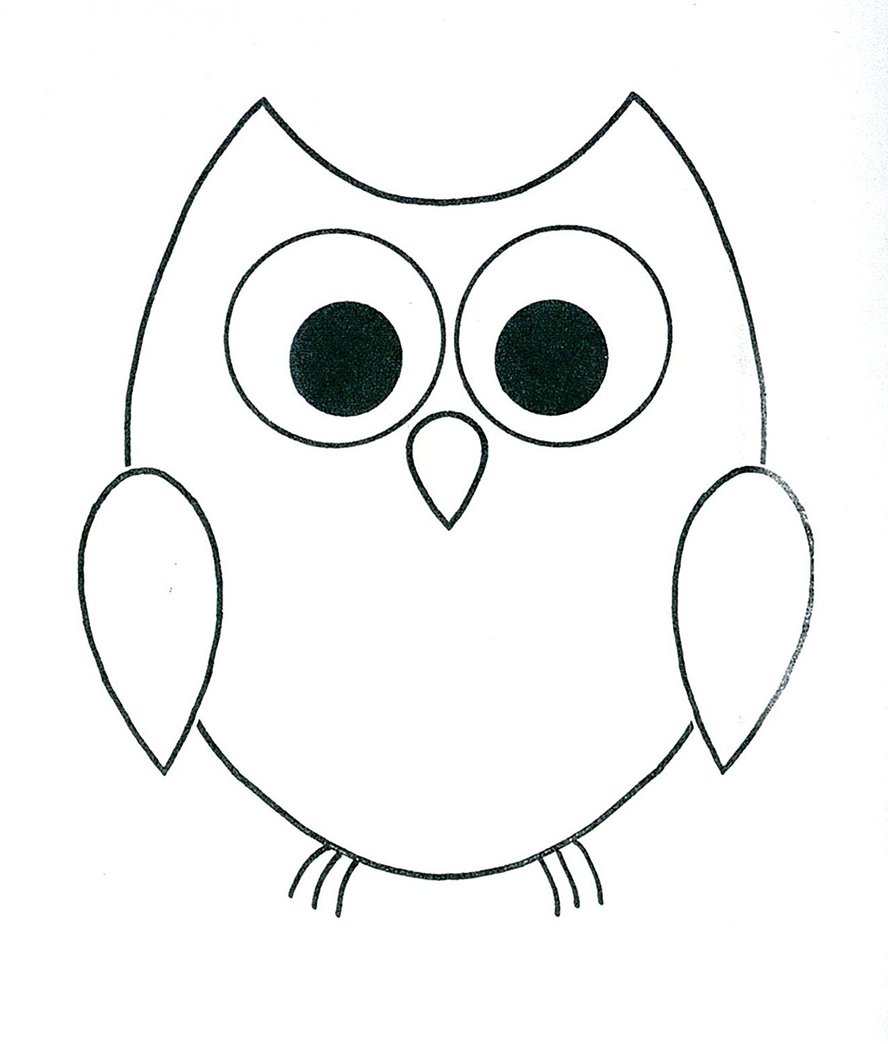 Simple cute owl drawing. Owls clipart easy