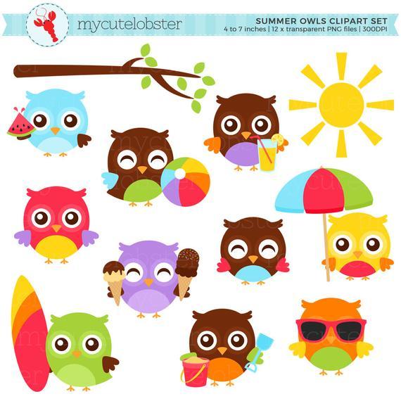 Owls clipart summer. Set clip art of