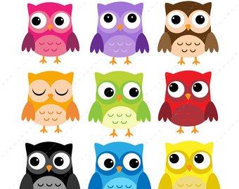Owls clipart. Owl clip art etsy