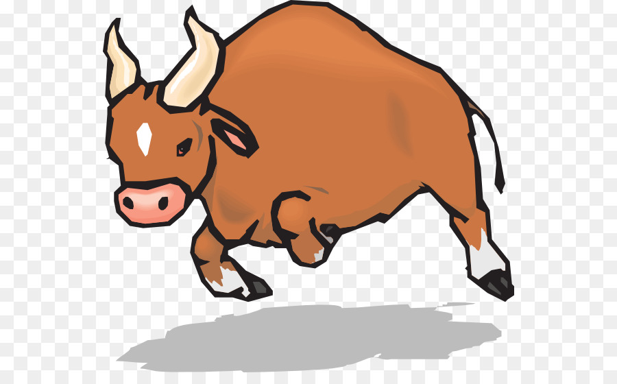 Charging bull pit cattle. Ox clipart