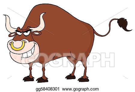 Vector art bull cartoon. Ox clipart angry cow