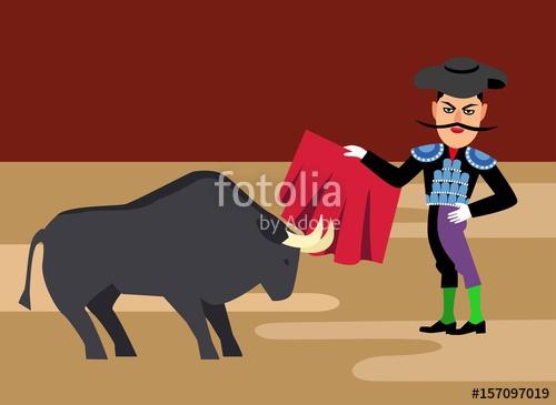 Matador cartoon bullfighting vector. Ox clipart bullfighter spanish