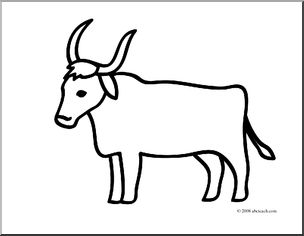 Clip art basic words. Ox clipart coloring page