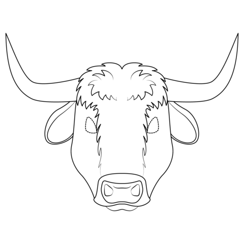 Ox clipart coloring page. Mask free printable pages