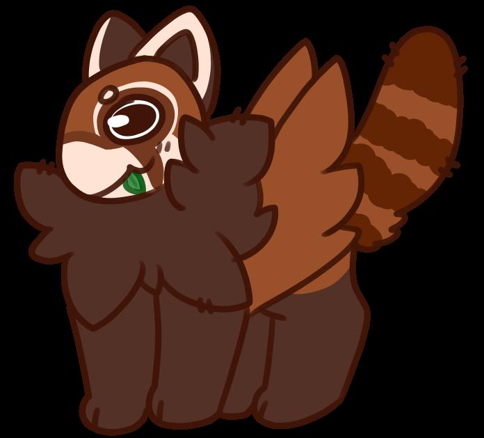 Red panda furry wyvern. Ox clipart sad