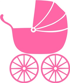 Baby stroller with cartoon heart image Royalty Free Vector