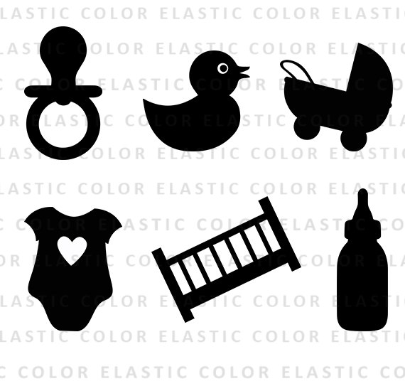 Svg stroller silhouette . Pacifier clipart baby shower