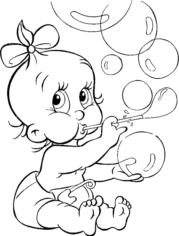 Cute babe blowing bubble. Stitch clipart angel colouring page