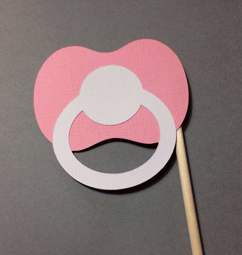 Pacifier clipart photo booth. Prop baby shower gender