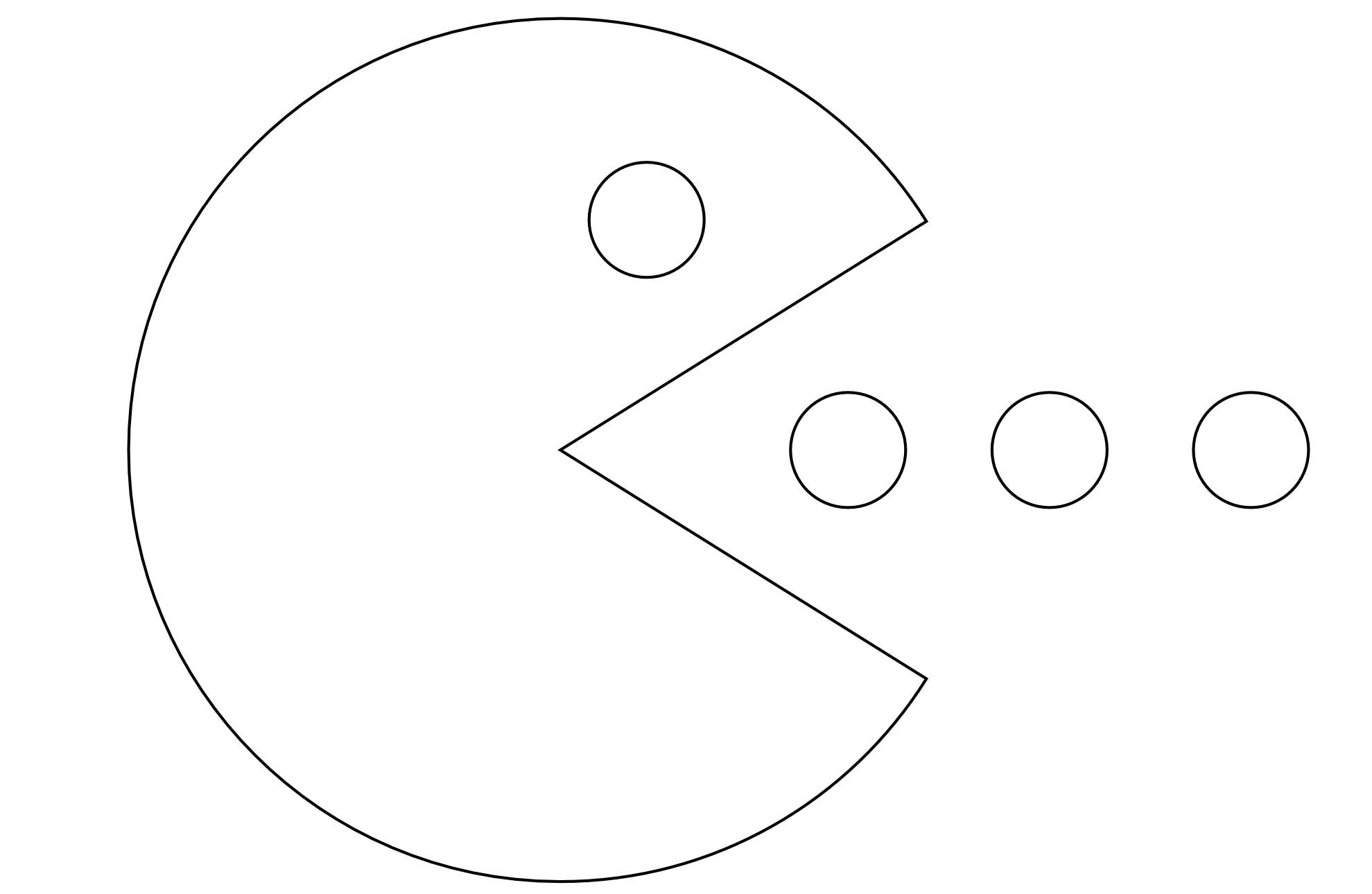 B pac man line. Pacman clipart black and white