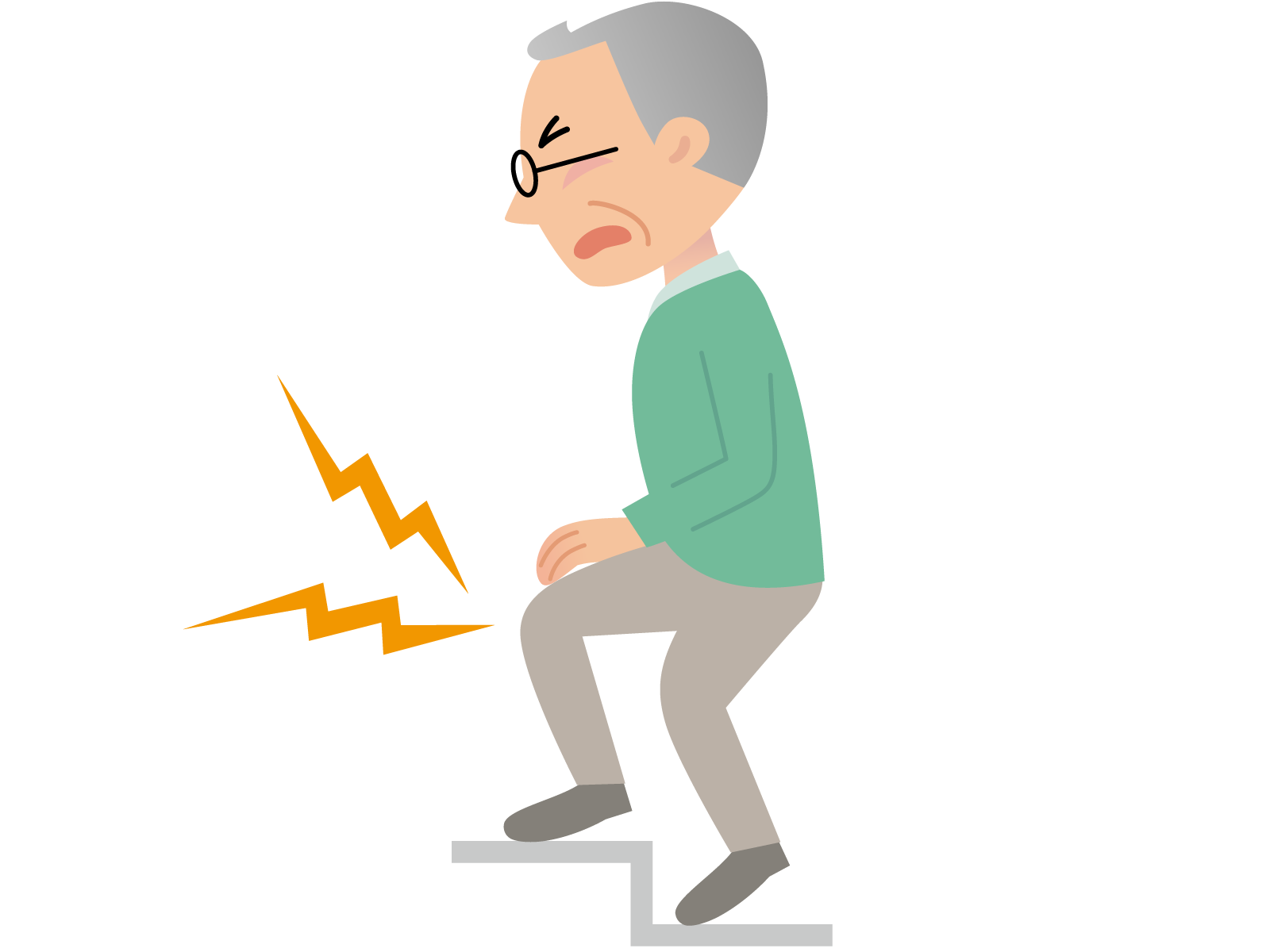 Old age joint therapy. Pain clipart knee pain