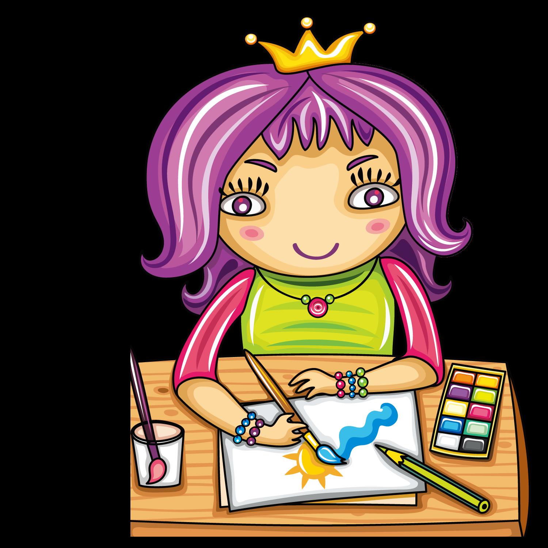 Painter clipart art classroom. Student child clip wearing