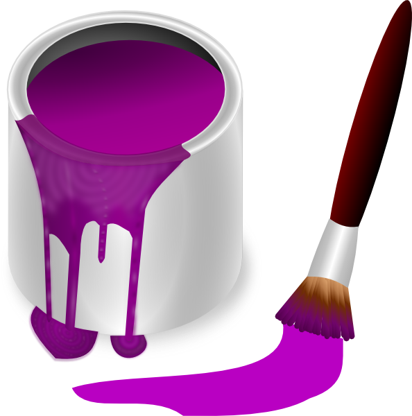 Purple with brush clip. Paint clipart box