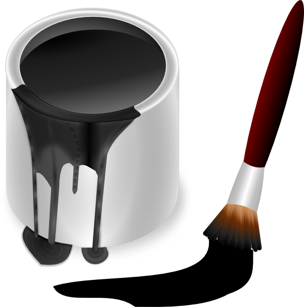 Paintbrush clipart small. Black paint bucket with