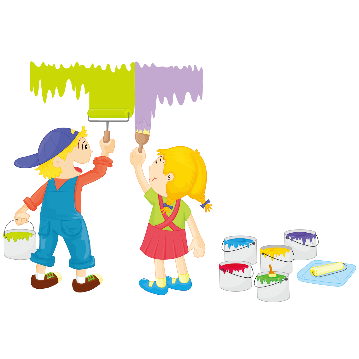 Paint clipart child painting. Illustration painted children transprent