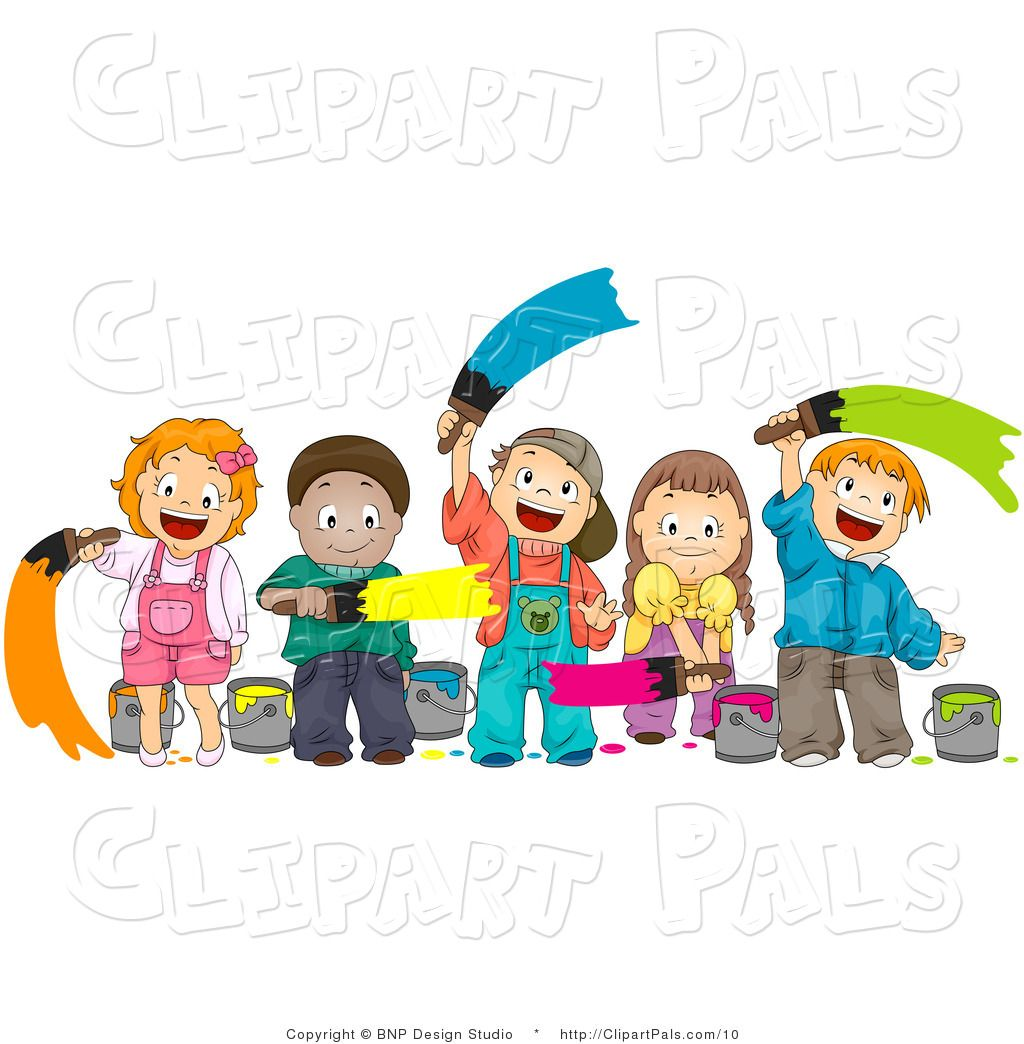 Pal of diverse kids. Paint clipart child painting