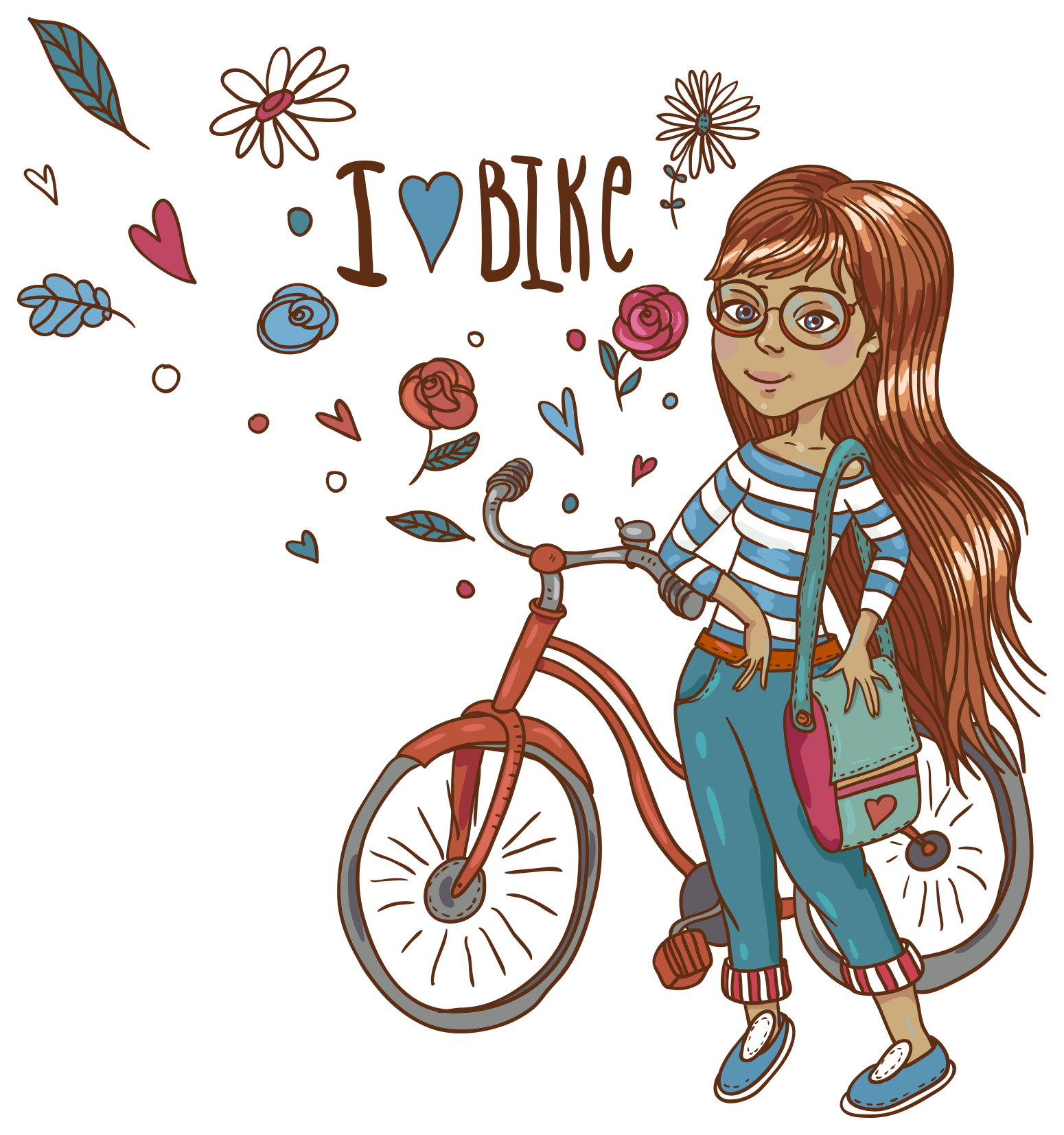 Paint clipart girl painting. Hand painted bike vector
