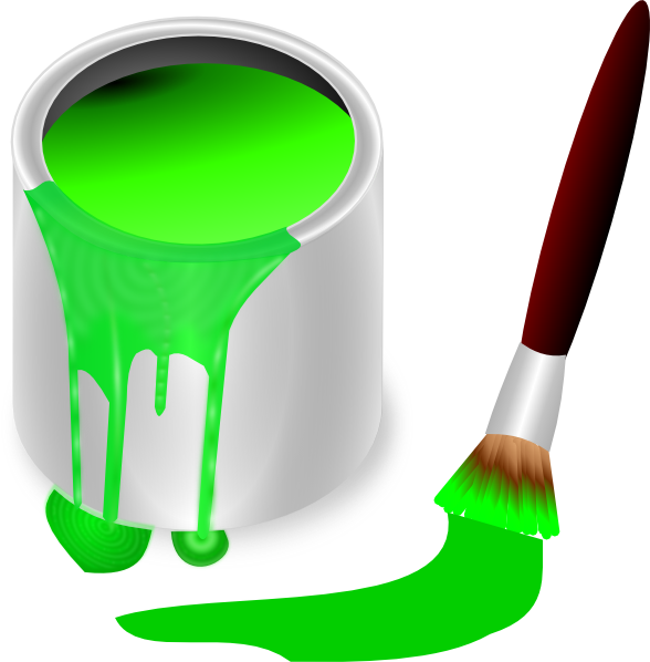 Green brush and can. Paintbrush clipart paint roller