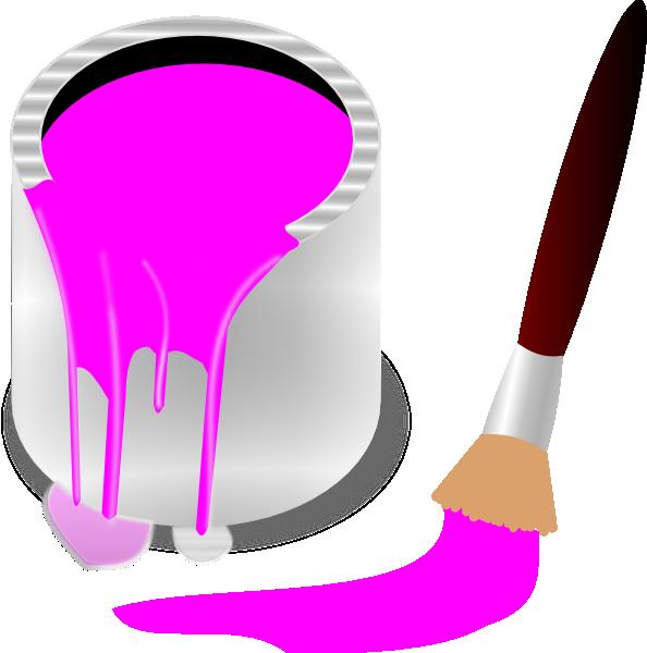 Paintbrush clipart paint bucket. Clip art pink kid