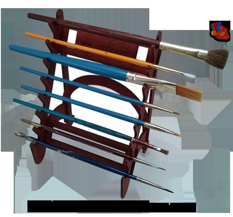 Brush rack ironheart artisans. Paintbrush clipart paint holder