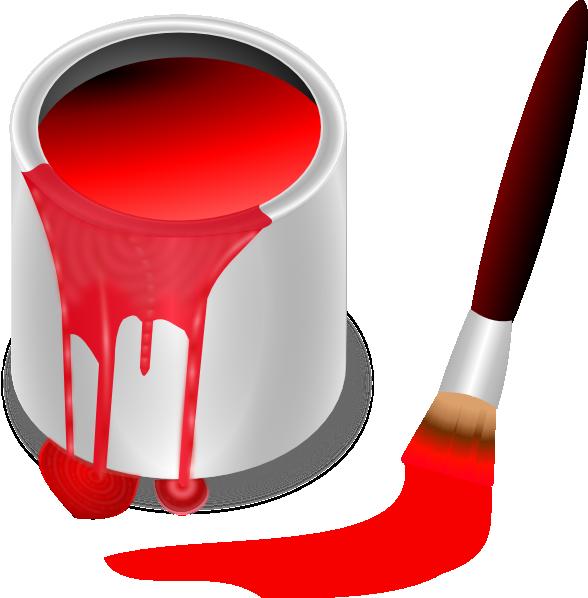 Red paint brush and. Paintbrush clipart bursh
