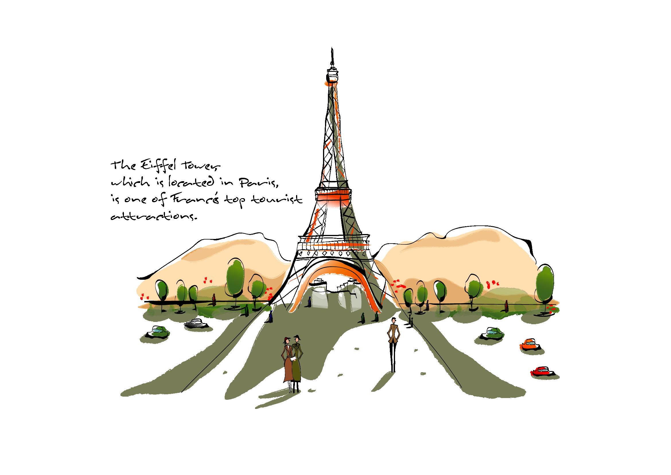 Paint clipart painting building. Eiffel tower landscape art
