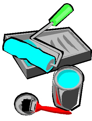 Free paint supplies cliparts. Painter clipart painting material