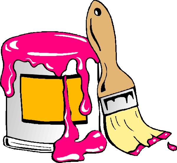 Paintbrush clipart paint roller. Pink clip art at