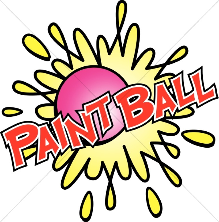 Paintball clipart. In red with bright