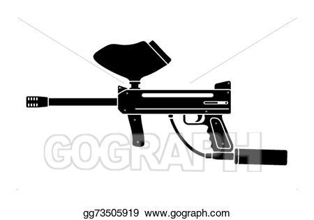 Vector illustration silhouette eps. Paintball clipart paintball gun