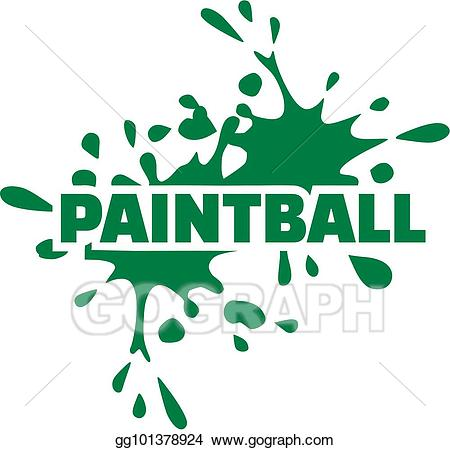 Paintball clipart word. Eps vector with green