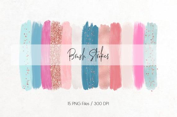 Brush strokes glitter confetti. Paintbrush clipart acrylic paint