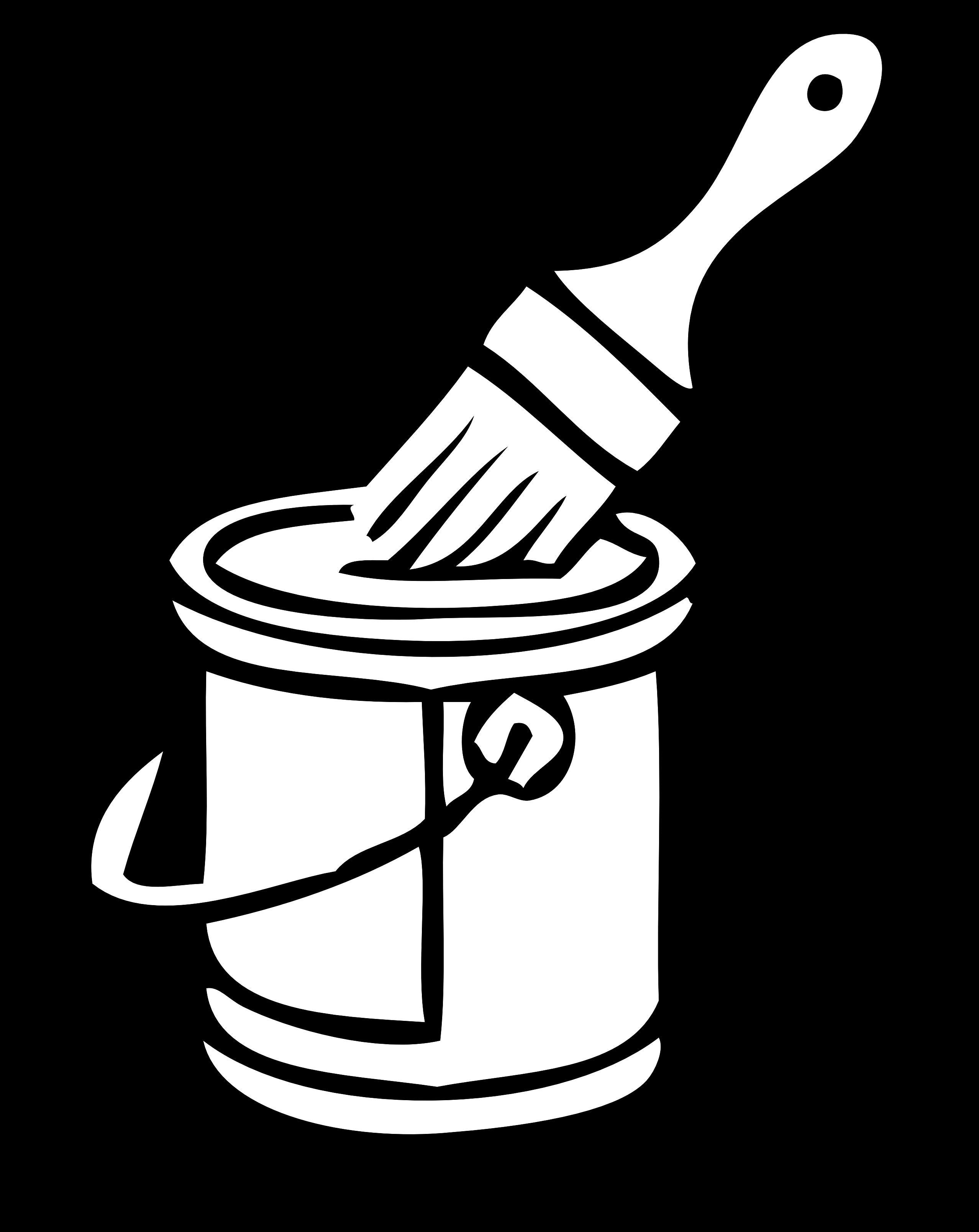 Paintbrush clipart cartoon. Outline clip art library