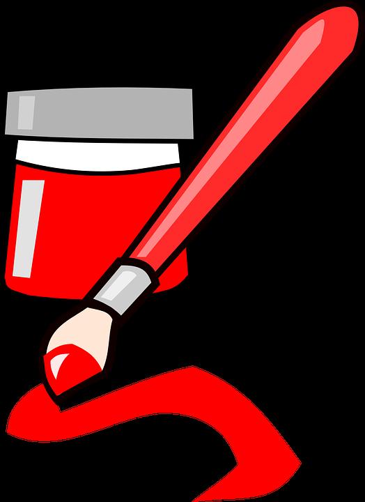 Paintbrush clipart cartoon. Brush red paint free