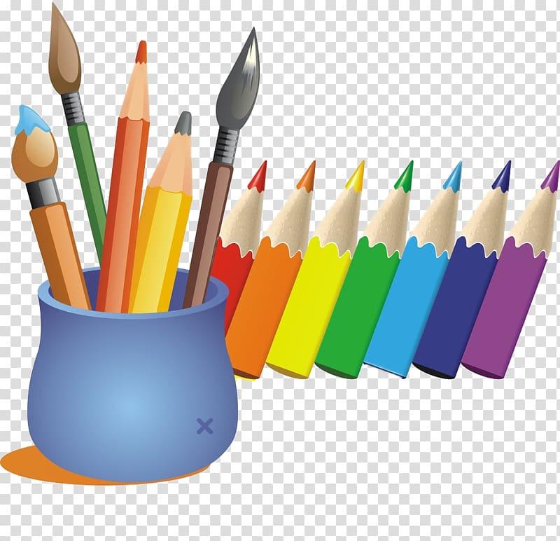 Pencils illustration cartoon color. Paintbrush clipart colored pencil
