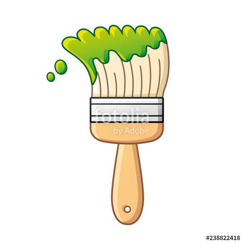Paint brush vector isolated. Paintbrush clipart green paintbrush