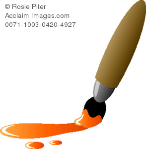 Illustration of a with. Paintbrush clipart orange