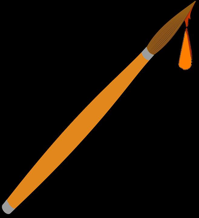 Paint brush png transparent. Paintbrush clipart orange