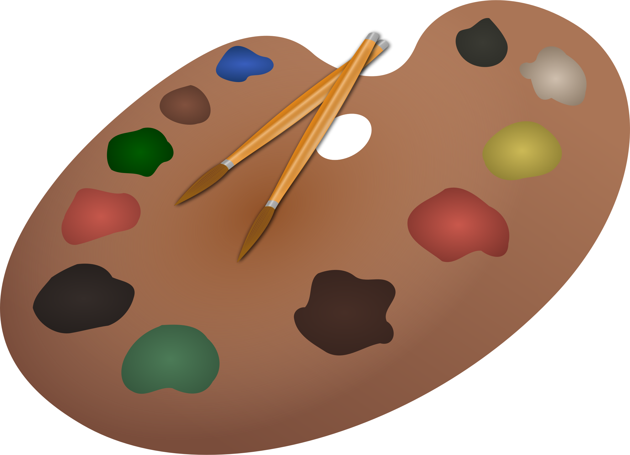 Paintbrush clipart paint board. Palette and paintbrushes by