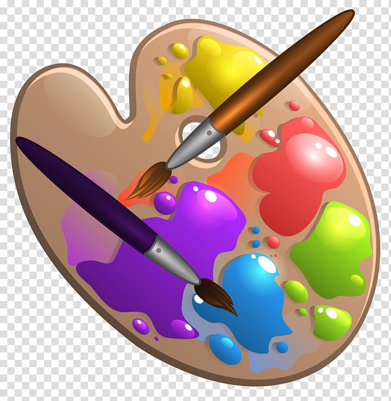 Paintbrush clipart paint board. Brush and palette painting