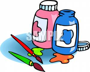 Paintbrush clipart paint bottle. Jars of and two
