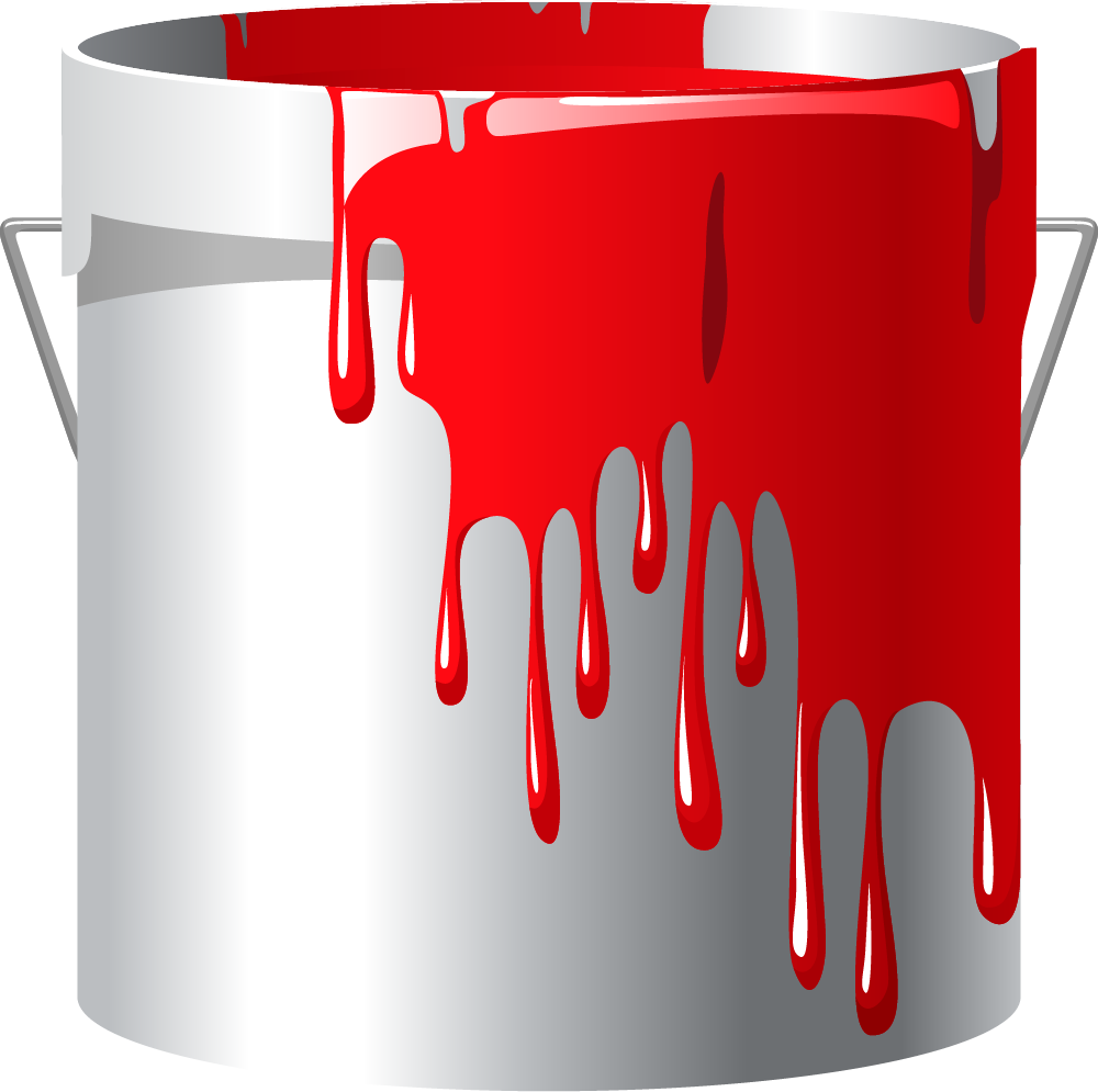 Painter clipart red paint bucket. Roller paintbrush handle cartoon