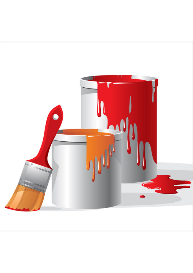 Brush clip art textured. Painter clipart red paint bucket