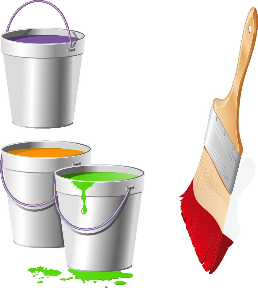 Color transprent png free. Paintbrush clipart paint bucket