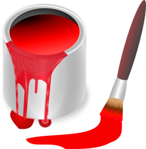Paintbrush clipart paint can. Red brush and clip