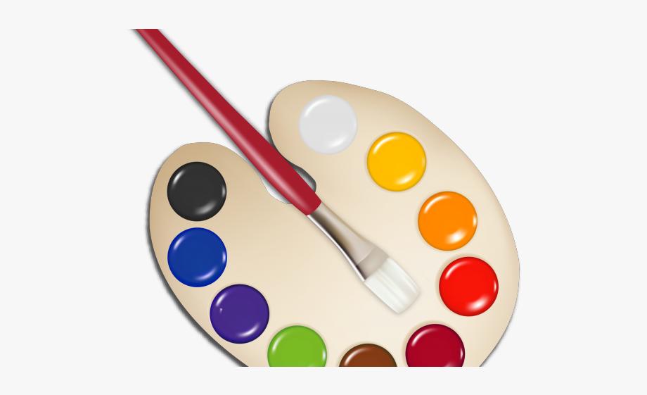 Brush palette with transparent. Paintbrush clipart paint holder
