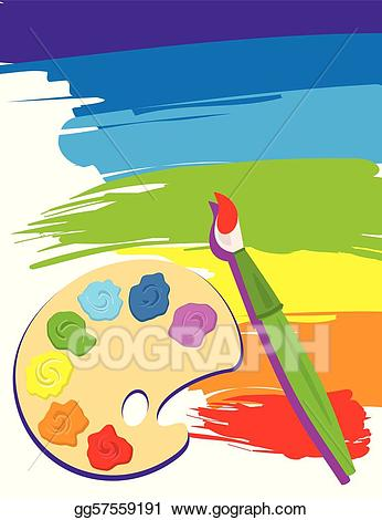 Vector art palette and. Paintbrush clipart paintbrush canvas