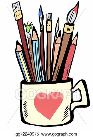 Paintbrush clipart painting ceramic. Drawing pencils pens and