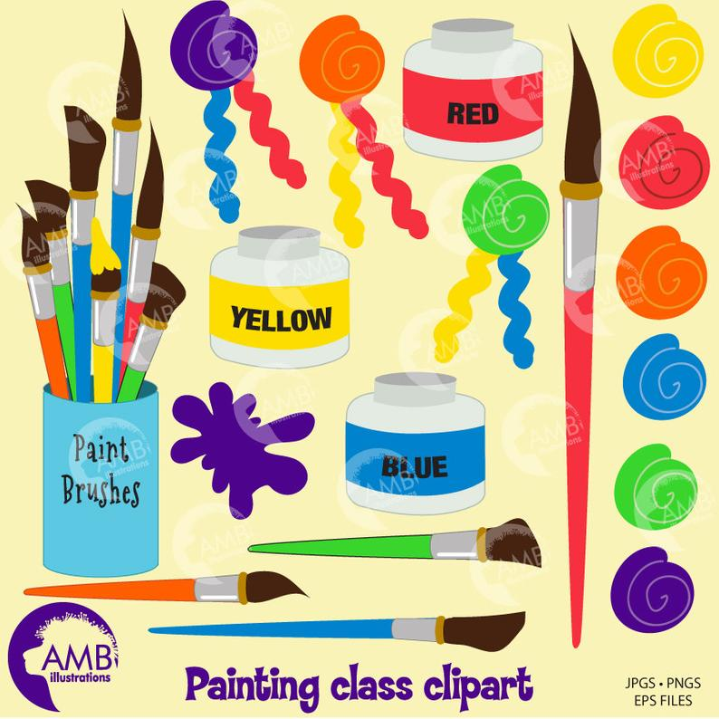 Paintbrush clipart painting material. Supplies paints paint by